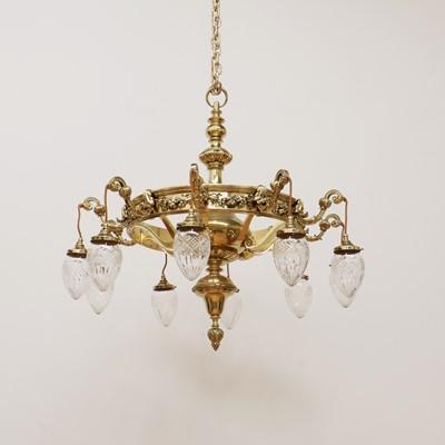 Lot 390 - A large brass ten-branch ceiling light