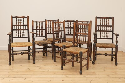 Lot 447 - A matched set of eight spindle back dining chairs