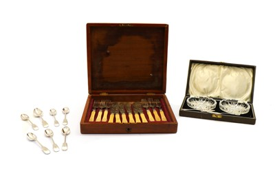 Lot 56 - A predominately Victorian canteen of silver cutlery