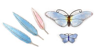 Lot 1048 - A sterling silver enamel butterfly brooch