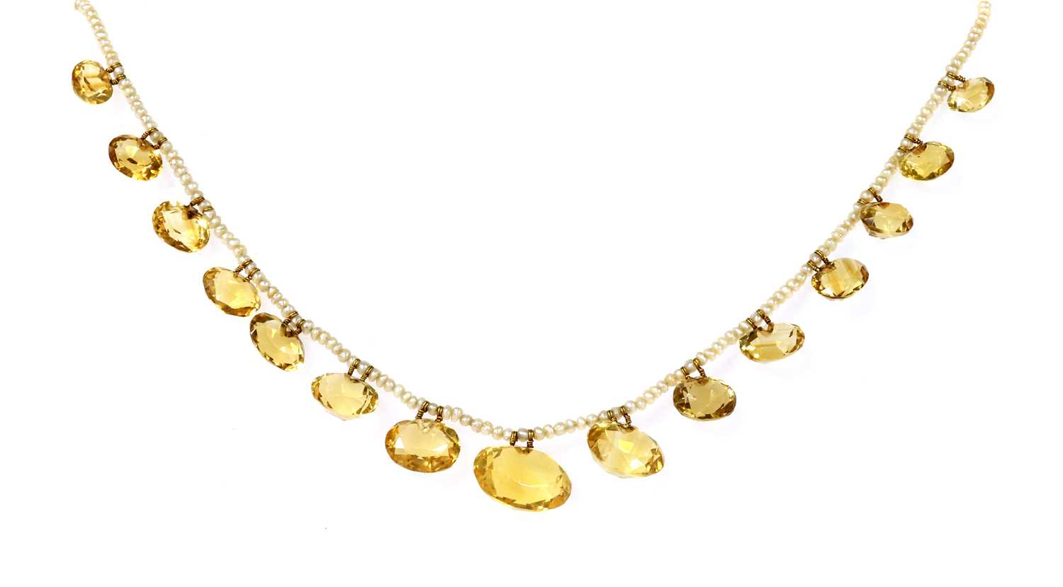Lot 91 - A late Victorian seed pearl and citrine fringe necklace