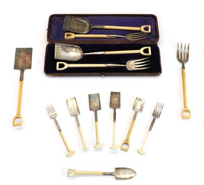 Lot 81 - Various ivory and silver plate serving cutlery as garden tools