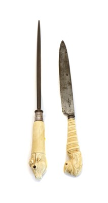 Lot 73 - A 19th century steel and a carving knife