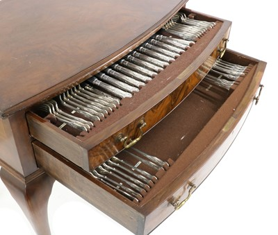 Lot 39 - A Chippendale style walnut canteen of silver flatware