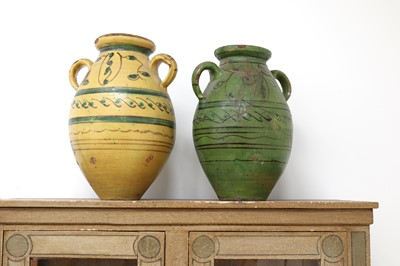 Lot 1 - A pair of large French pottery vases
