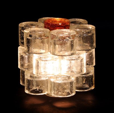 Lot An Italian Brutalist glass table lamp