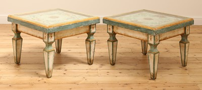Lot 9 - A pair of Continental painted wood low tables