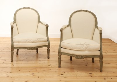 Lot 8 - A pair of French Louis XVI-style painted fauteuils