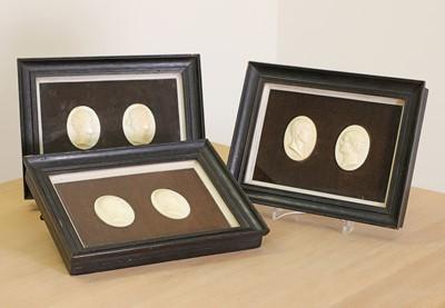 Lot 46 - A set of six Italian grand tour ivory plaques