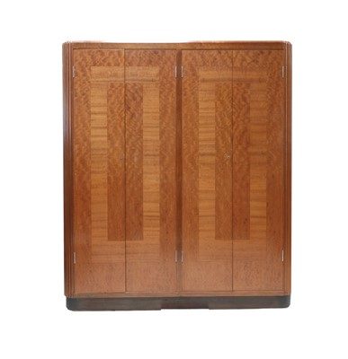 Lot An Art Deco Queensland walnut and cherry mahogany (makore wood) inlaid wardrobe