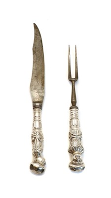 Lot 80 - A Victorian silver handled carving knife and fork