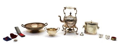 Lot 42 - A silver twin handled circular dish