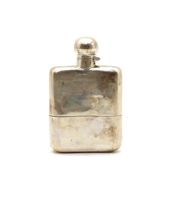 Lot 62 - A silver hip flask