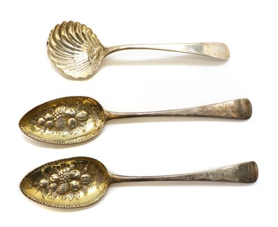 Lot 3 - A pair of George III silver berry spoons