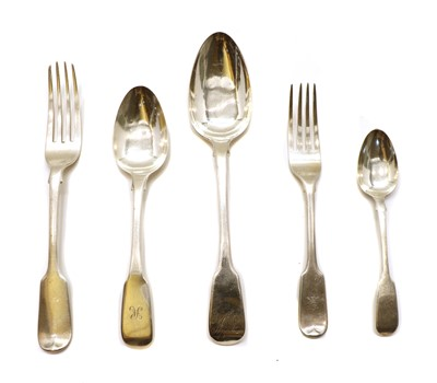 Lot 17 - A collection of silver fiddle pattern flatware