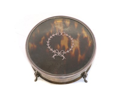 Lot 5 - A silver and tortoiseshell dressing table box