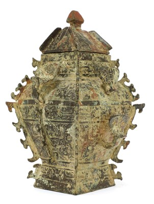Lot 111 - A Chinese bronze ritual wine vessel and cover (lei)