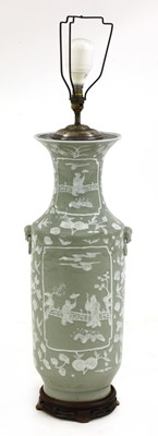 Lot 105A - A Chinese-style celadon glazed ceramic table lamp