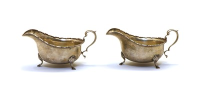 Lot 1 - A pair of silver sauceboats