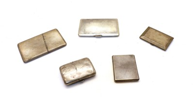 Lot 38 - A collection of five silver cigarette cases