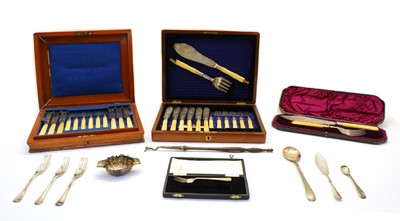 Lot 70 - A collection of silver and silver plated flatware