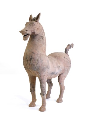 Lot 16 - A large Chinese grey pottery horse