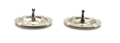 Lot 31 - A pair of Portuguese 833 standard silver ashtrays