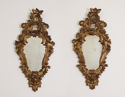 Lot 80 - A pair of rococo wall mirrors