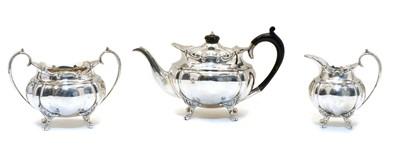 Lot 22 - A three piece silver tea service