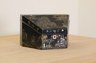 Lot 85 - A black and gilt mother-of-pearl inlaid papier mâché stationery box