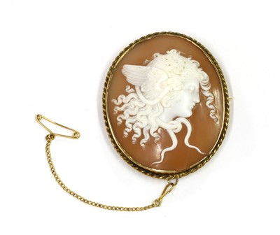 Lot 1009 - A gold mounted shell cameo brooch