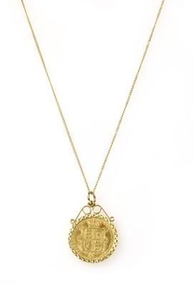 Lot 1091 - A Victoria half sovereign pendant