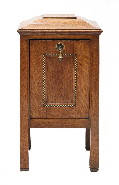 Lot 43 - An Arts and Crafts inlaid oak coal box