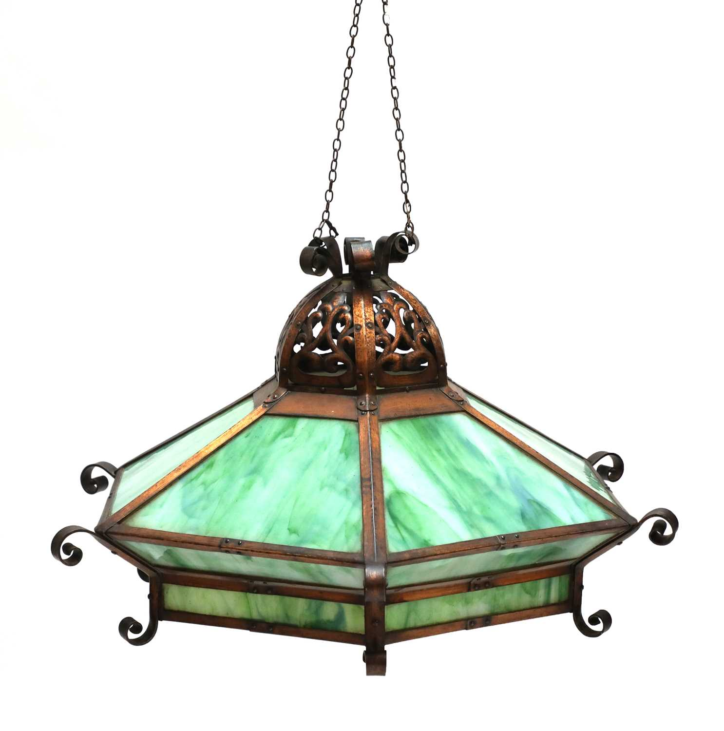 Lot 93 - An American Arts and Crafts copper ceiling light