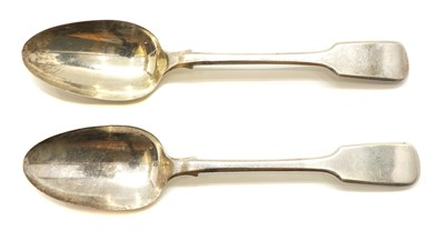 Lot 10 - A pair of Victorian silver fiddle pattern table spoons