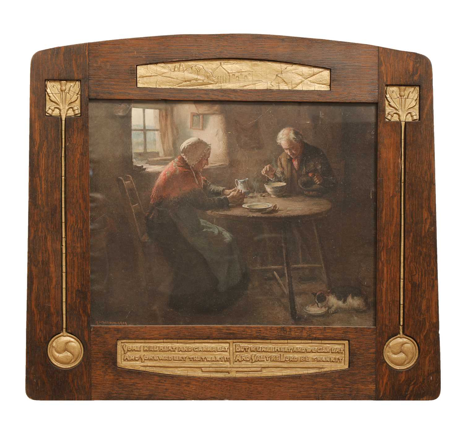 Lot 85 - A Scottish Arts and Crafts oak and gesso frame