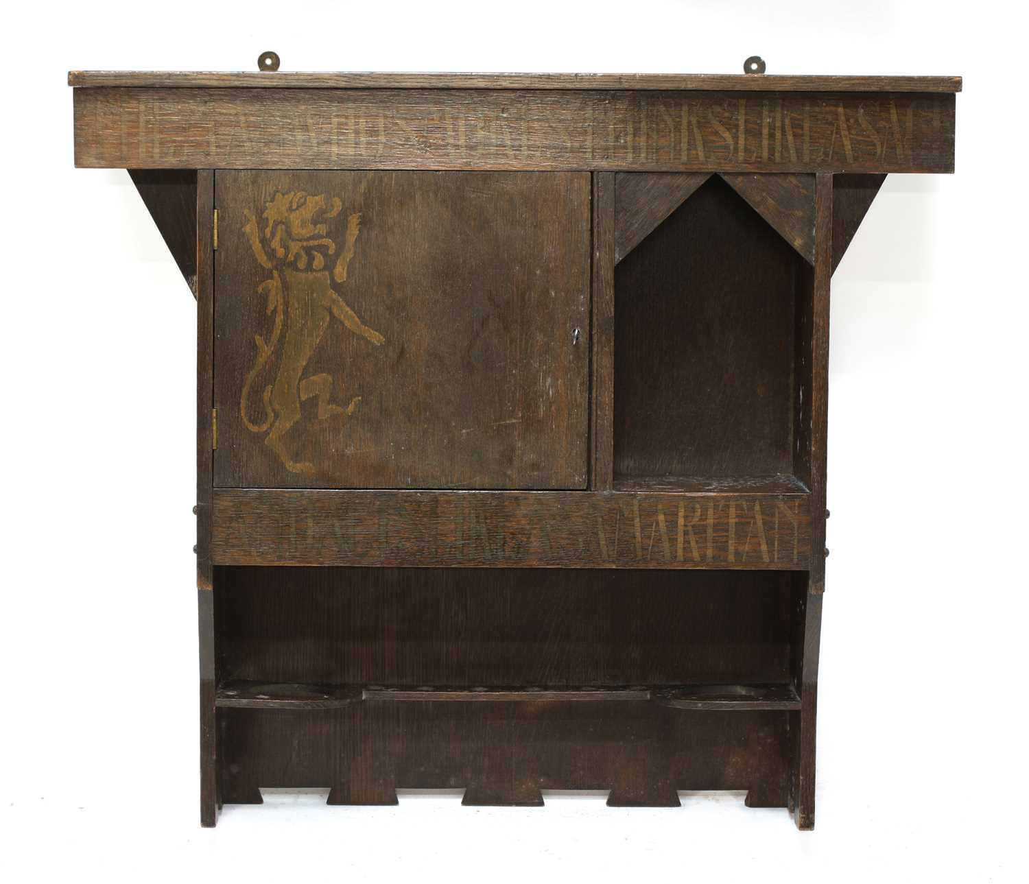 Lot 94 - An Arts and Crafts hanging smoker's cabinet