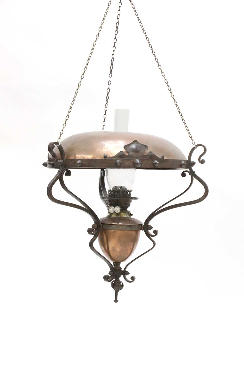 Lot 39 - An Arts and Crafts hanging copper oil lamp
