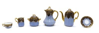 Lot 93 - A Limoges two tone blue tea service