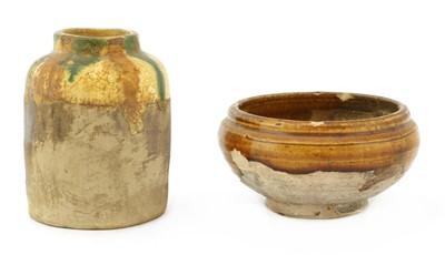 Lot 6 - A Chinese sancai-glazed earthenware jar