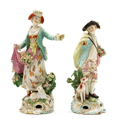 Lot 109 - A pair of Derby shepherd and shepherdess porcelain figures