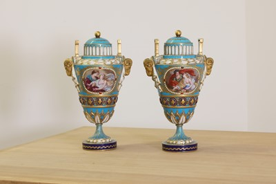 Lot 388 - A pair of Sèvres-style vases and covers