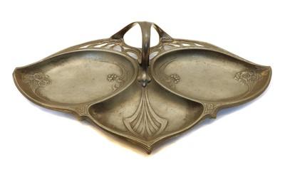 Lot 35 - A French Art Nouveau pewter triple bon bon dish