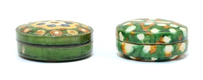 Lot 93 - Two Chinese sancai-glazed earthenware boxes