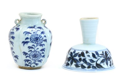 Lot 92 - A Chinese blue and white stem cup