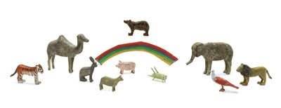 Lot 56 - A large collection of wooden Noah's Ark animals