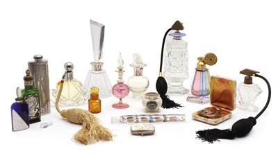 Lot 15 - A collection of perfume bottles and dressing jars