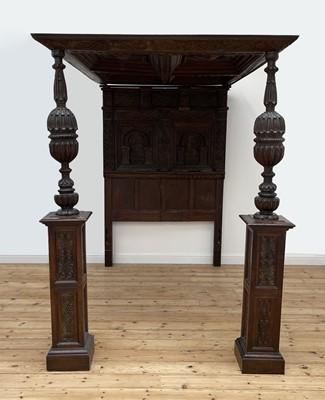 Lot 378 - An oak four-poster bed