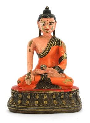 Lot 121 - A Chinese bronze Shakyamuni Buddha