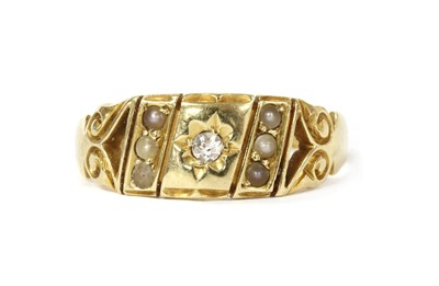 Lot 1005 - A Victorian gold diamond and split pearl ring